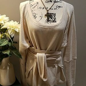 Free People Cream Wrap Thermal Waffle⭐⭐